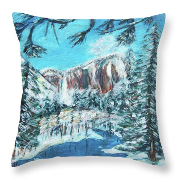 Yosemite In Winter Throw Pillow by Carolyn Donnell