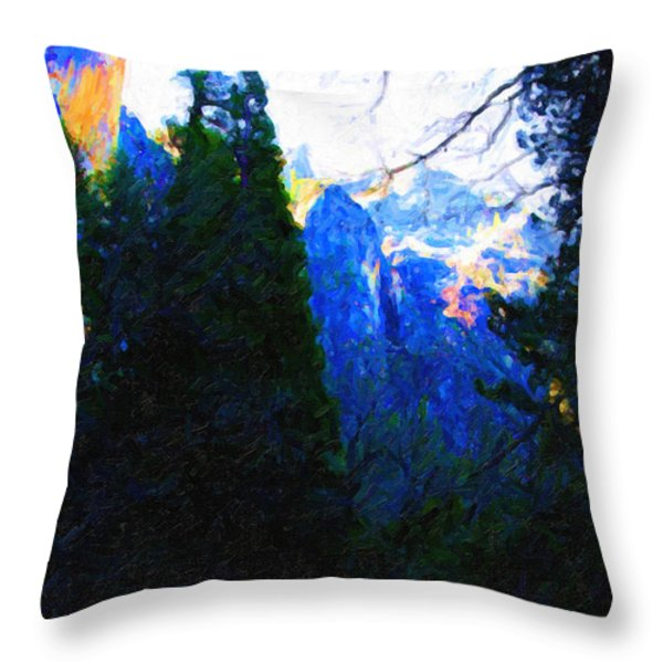 Yosemite Snow Mountain Tops . Vertical Cut Throw Pillow by Wingsdomain Art and Photography