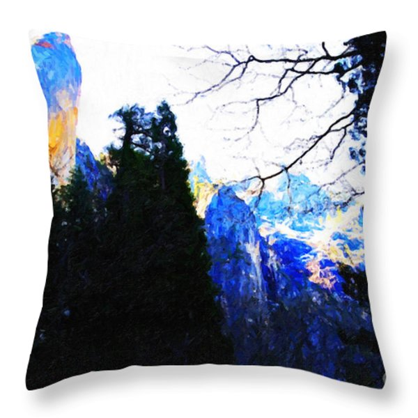 Yosemite Snow Top Mountains Throw Pillow by Wingsdomain Art and Photography