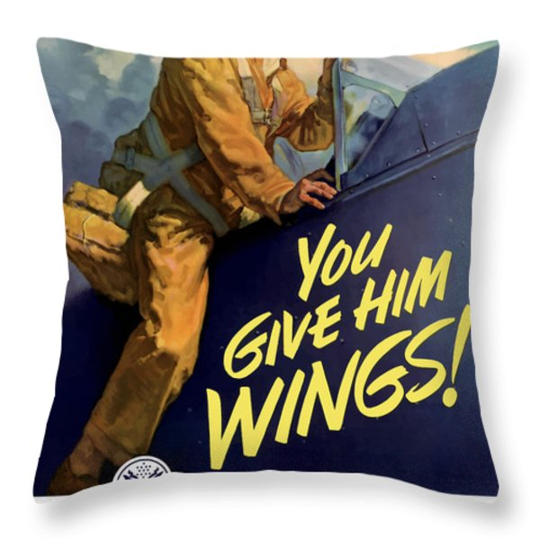 You Give Him Wings Throw Pillow by War Is Hell Store