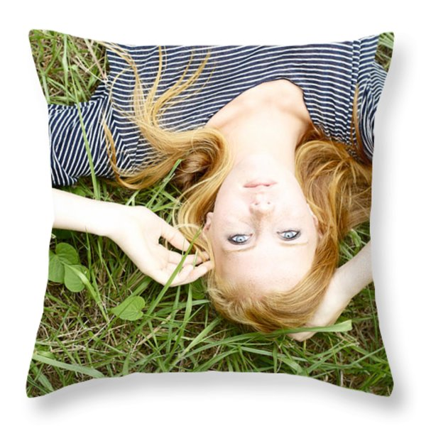 Young Girl On Grass Throw Pillow by Kicka Witte
