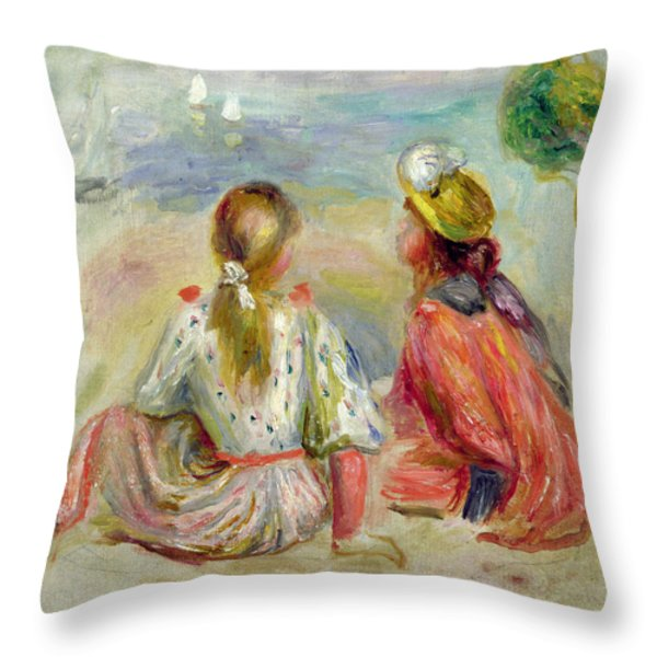 Young Girls On The Beach Throw Pillow by Pierre Auguste Renoir
