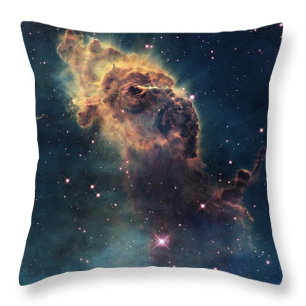 Young Stars Flare In The Carina Nebula Throw Pillow by Nasa/Esa
