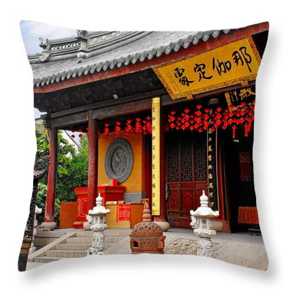 Yuanjin Chanyuan Temple - Zhu Jia Jiao Ancient Town Throw Pillow by Christine Till