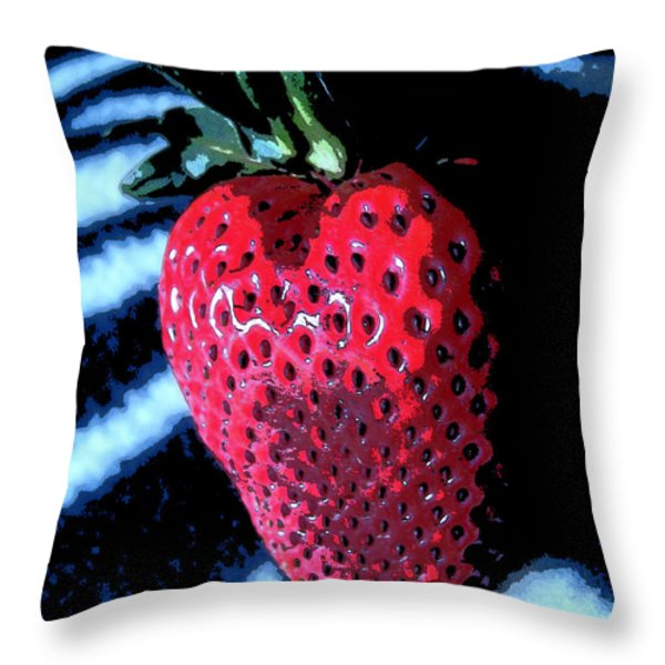 Zebra Strawberry Throw Pillow by Kym Backland