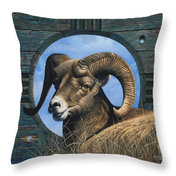 Zia Ram Throw Pillow by Ricardo Chavez-Mendez