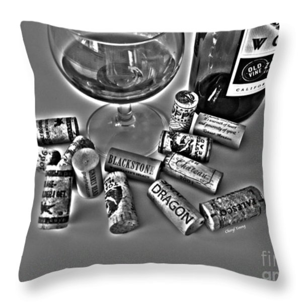 Zin Black And White Throw Pillow by Cheryl Young