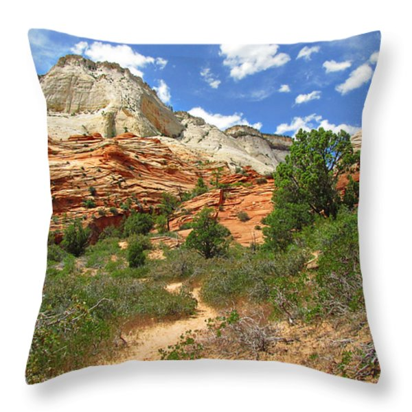 Zion National Park - A Picturesque Wonderland Throw Pillow by Christine Till