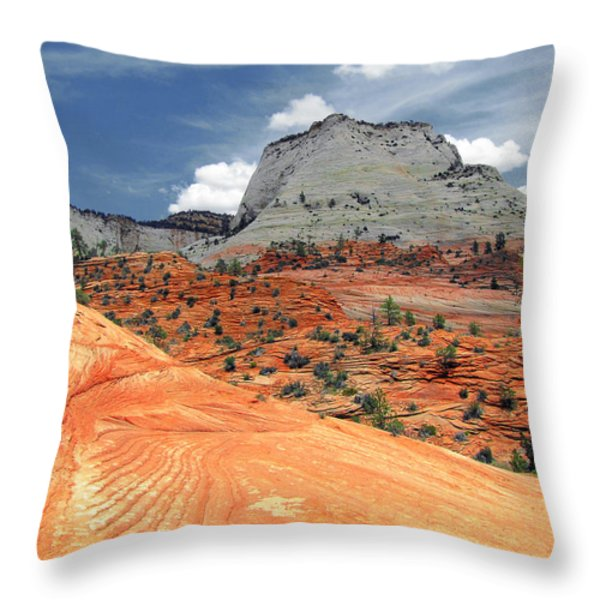 Zion National Park as a storm rolls in Throw Pillow by Christine Till