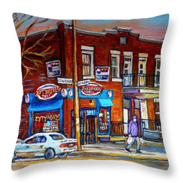 Zytynsky's Deli Montreal Throw Pillow by Carole Spandau