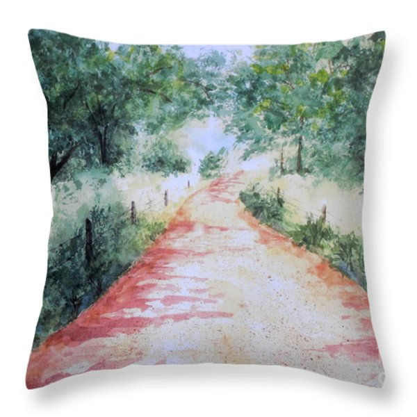 A Country Road Throw Pillow by Vicki  Housel