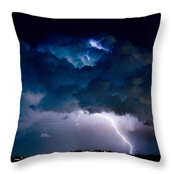 Clouds of Light Lightning Striking Boulder County Colorado Throw Pillow by James BO  Insogna