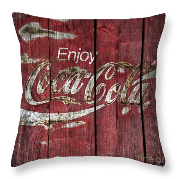 Coca Cola Sign Barn Wood Throw Pillow by John Stephens
