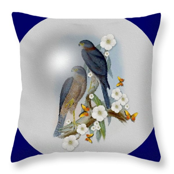 Collared Sparrow Hawk Throw Pillow by Madeline  Allen - SmudgeArt