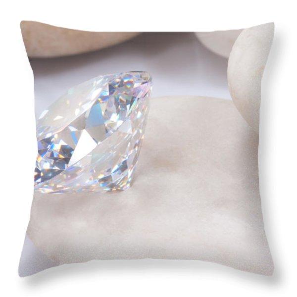 diamond on white stone Throw Pillow by ATIKETTA SANGASAENG