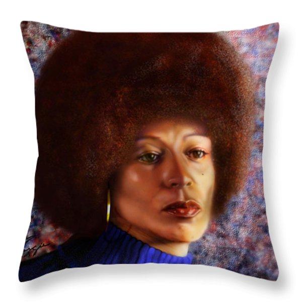 Impassable Me - Angela Davis1 Throw Pillow by Reggie Duffie