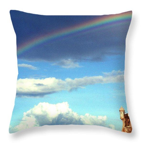 Rainbow Over El Morro Fortress Throw Pillow by Thomas R Fletcher