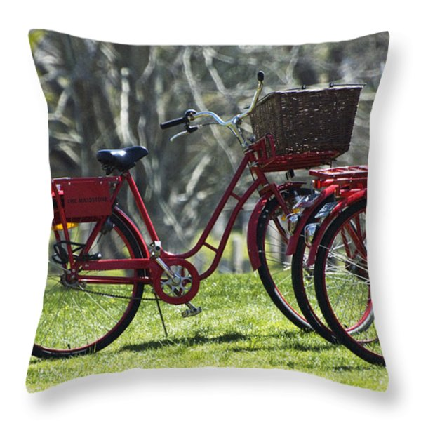 Red Bicycle in the Country Throw Pillow by Anahi DeCanio