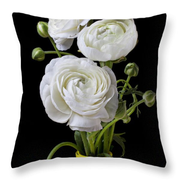 White ranunculus in yellow vase Throw Pillow by Garry Gay