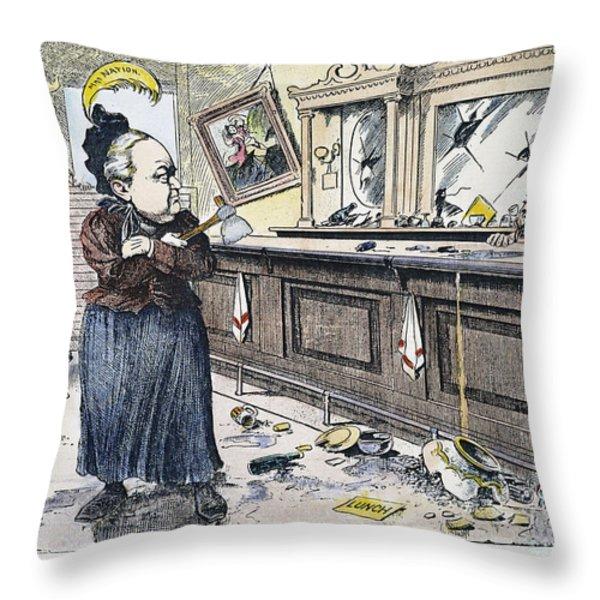 Carry Nation Cartoon, 1901 Throw Pillow by Granger