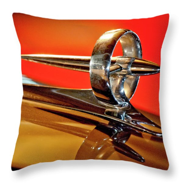 1947 Buick Roadmaster Hood Ornament Throw Pillow by Jill Reger