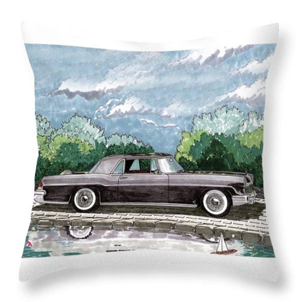 1956  Lincoln Continental Mk II Throw Pillow by Jack Pumphrey