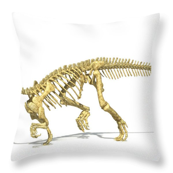 3d Rendering Of A Plateosaurus Dinosaur Throw Pillow by Leonello Calvetti