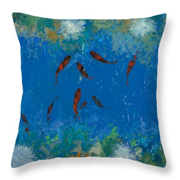 9 pesciolini rossi Throw Pillow by Guido Borelli