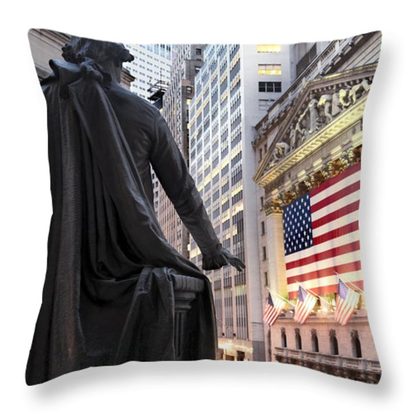 A Bronze Statue Of George Washington Throw Pillow by Justin Guariglia
