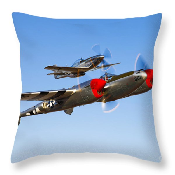 A P-38 Lightning And P-51d Mustang Throw Pillow by Scott Germain