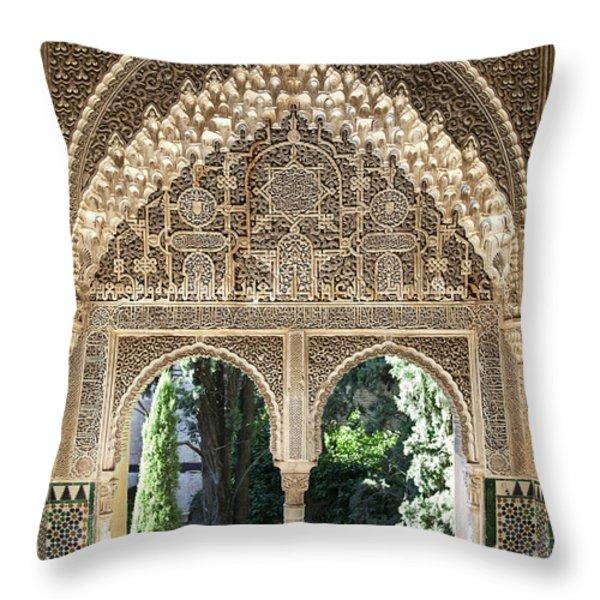 Alhambra windows Throw Pillow by Jane Rix
