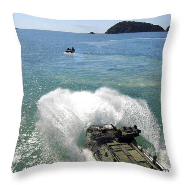 Amphibious Assault Vehicles Exit Throw Pillow by Stocktrek Images