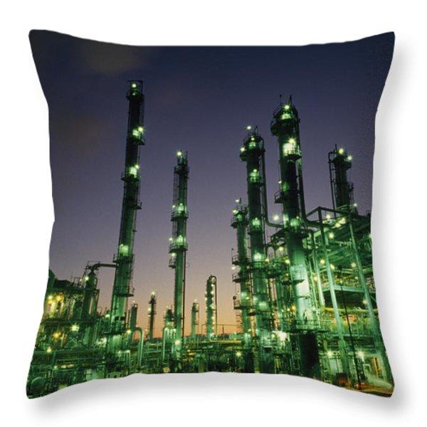 An Oil Refinery At Dusk Throw Pillow by Lynn Johnson