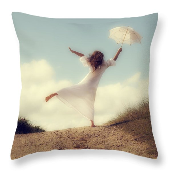 angel with parasol Throw Pillow by Joana Kruse