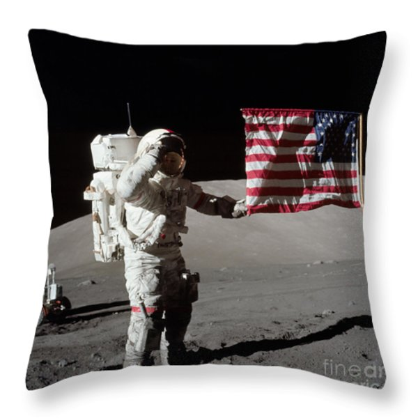 Apollo 17 Astronaut Salutes The United Throw Pillow by Stocktrek Images