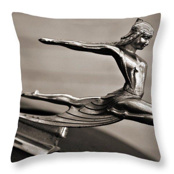 Art Deco Hood Ornament Throw Pillow by Marilyn Hunt