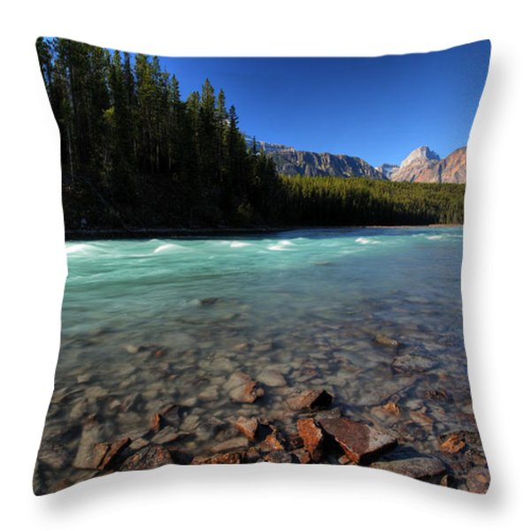 Athabasca River in Jasper National Park Throw Pillow by Mark Duffy