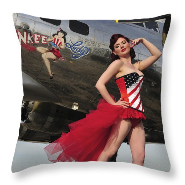Beautiful 1940s Style Pin-up Girl Throw Pillow by Christian Kieffer