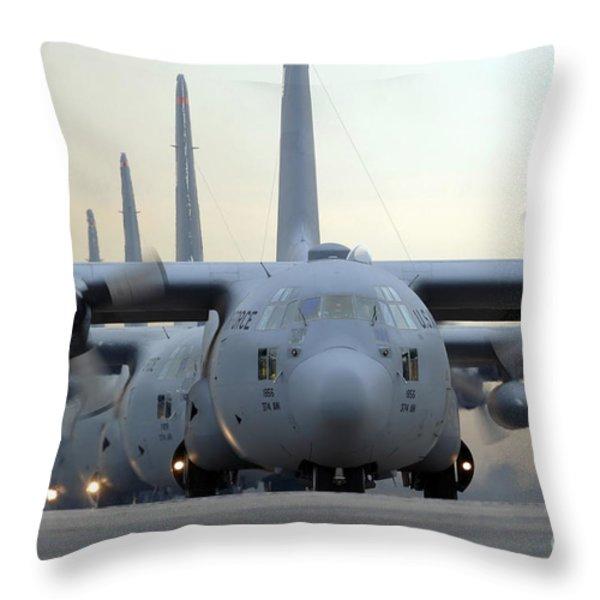 C-130 Hercules Aircraft Taxi Throw Pillow by Stocktrek Images