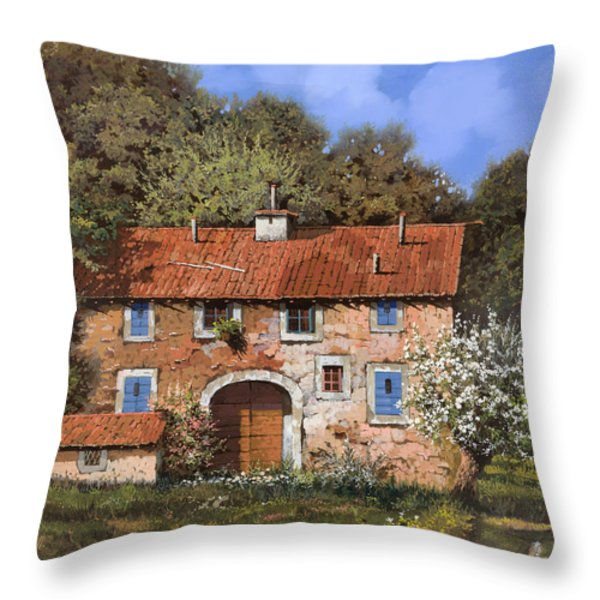 casolare a primavera Throw Pillow by Guido Borelli