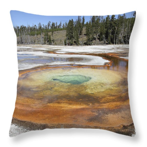 Chromatic Pool Hot Spring, Upper Geyser Throw Pillow by Richard Roscoe