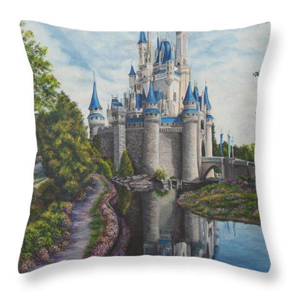 Cinderella Castle  Throw Pillow by Charlotte Blanchard
