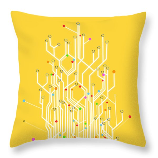 circuit board graphic Throw Pillow by Setsiri Silapasuwanchai