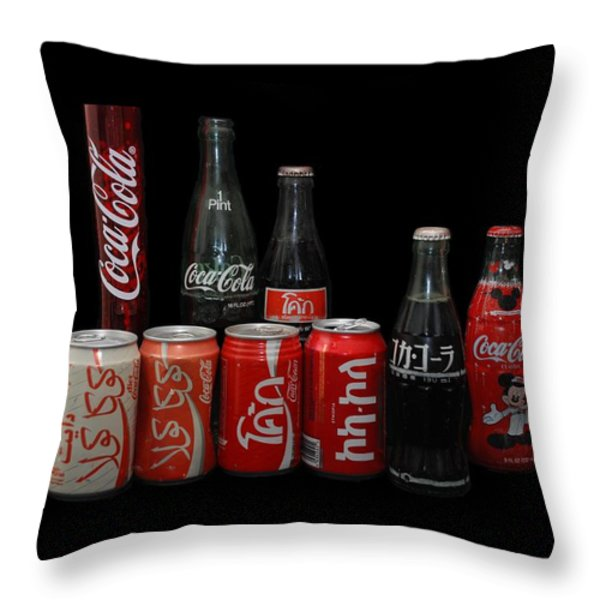 Coke From Around The World Throw Pillow by Rob Hans