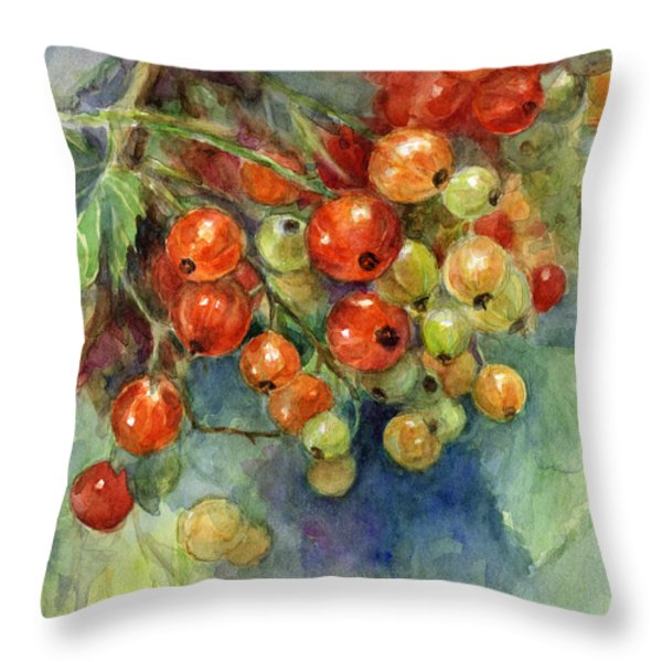 Currants berries painting Throw Pillow by Svetlana Novikova