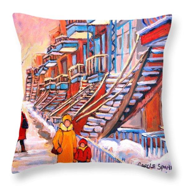 Debullion Street Winter Walk Throw Pillow by Carole Spandau