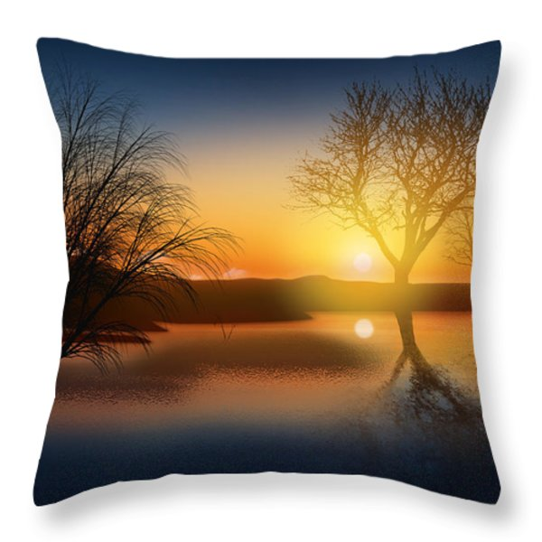 Dramatic Landscape Throw Pillow by Setsiri Silapasuwanchai