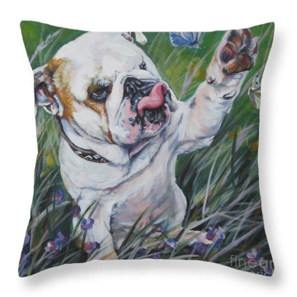 English Bulldog Throw Pillow by Lee Ann Shepard