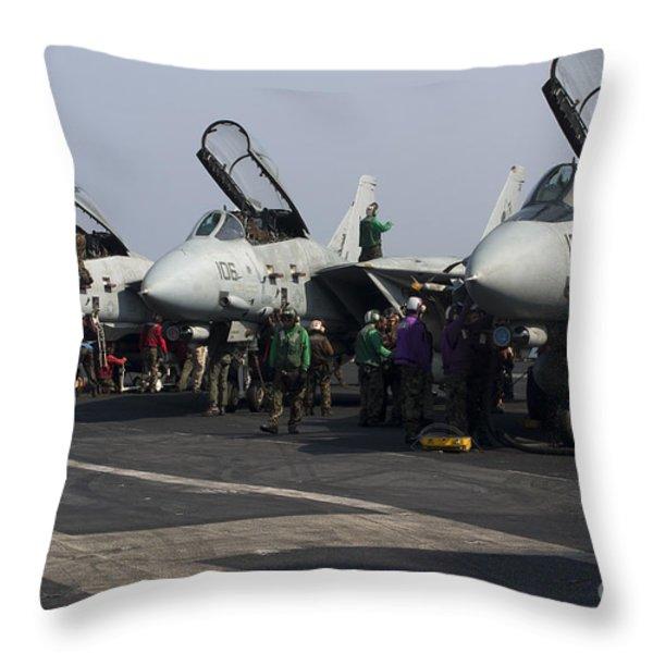 F-14d Tomcats On The Flight Deck Of Uss Throw Pillow by Gert Kromhout