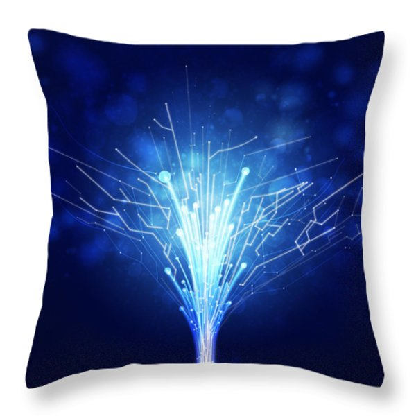 fiber optics and circuit board Throw Pillow by Setsiri Silapasuwanchai